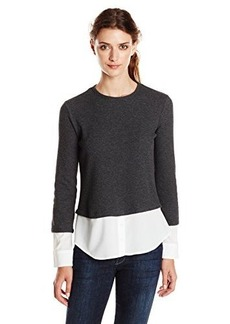 Calvin Klein Women's Thermal Top with Shirting, Heather Charcoal, X-Small