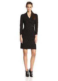 Calvin Klein Women's Three-Quarter Sleeve Buckle-Front Sweater Dress