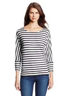 Calvin Klein Women's Three-Quarter-Sleeve Dolman Tunic Shirt With Zips