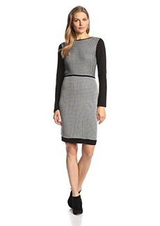 Calvin Klein Women's Three-Quarter Sleeve Plaid Sweater Dress