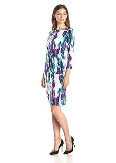 Calvin Klein Women's Sleeved Ruched Dress, Purple Punch, X-Small