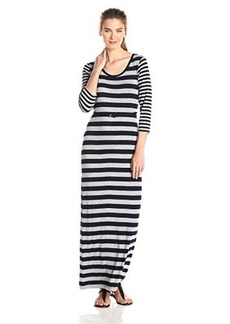 Calvin Klein Women's 3/4 Sleeve Striped Belted Maxi Dress, Indigo/Tin, 2