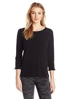 Calvin Klein Women's Top with Faux Leather Trim, Black, X-Small