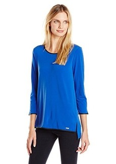 Calvin Klein Women's Top with Faux Leather Trim, Celestial, Large