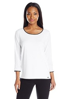 Calvin Klein Women's Top with Faux Leather Trim, Soft White, Medium