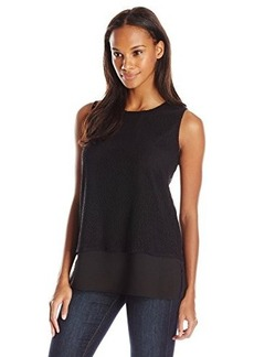Calvin Klein Women's Top with Mesh Overlay, Black, X-Small