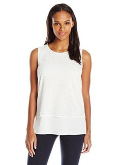Calvin Klein Women's Top with Mesh Overlay, Soft White, Large