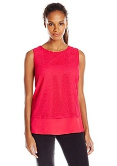 Calvin Klein Women's Top with Mesh Overlay, Watermelon, X-Large