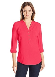 Calvin Klein Women's Top With Shoulder Detail, Lipstick Pink, X-Large