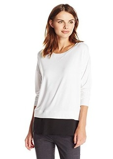 Calvin Klein Women's Top with Woven Bottom and Tulip Back, Soft White, X-Large