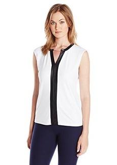 Calvin Klein Women's V-Neck Chain Top, Soft White, Small