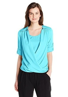 Calvin Klein Women's V-Neck Drape Roll-Sleeve Top