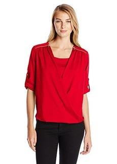 Calvin Klein Women's V-Neck Drape Roll-Sleeve Blouse