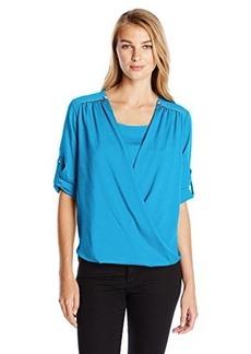 Calvin Klein Women's V-Neck Drape Roll-Sleeve Top Blouse