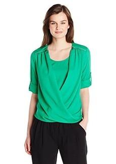 Calvin Klein Women's V-Neck Drape Roll Sleeve, Grass, X-Small