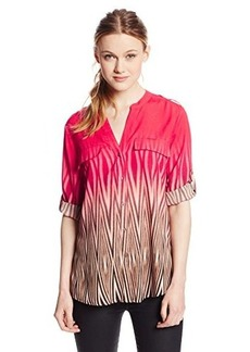 Calvin Klein Women's V-Neck Printed Roll-Sleeve Top
