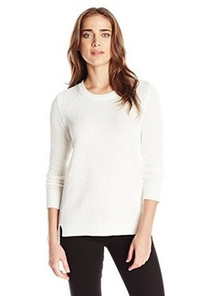 Calvin Klein Women's Waffle Stitch Crew Neck, Soft White, X-Large