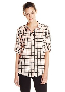 Calvin Klein Women's Windowpane Roll-Sleeve Top Blouse