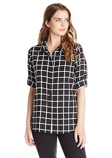 Calvin Klein Women's Windowpane Roll Sleeve Top, Black/Birch, X-Small