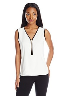 Calvin Klein Women's Woven Top, Cream/Black, X-Small