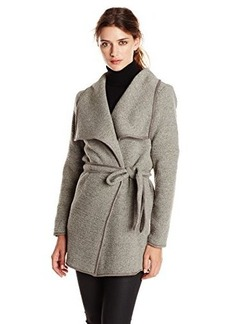 Calvin Klein Women's Wrap Jacket with Belt, Tin, X-Small