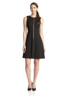 Calvin Klein Women's Zip-Front Fit-and-Flare Dress