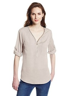 Calvin Klein Women's Zip V-Neck Blouse