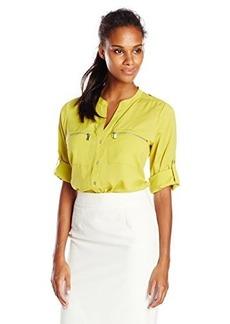 Calvin Klein Women's Zipper Roll Sleeve, Aloe, Medium