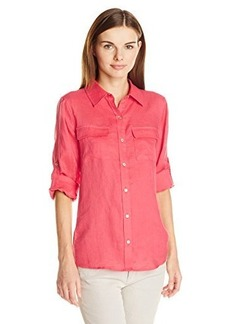 Calvin Klein Women's Modern Essential Linen Roll Sleeve Blouse with Knit Inset, Watermelon, X-Small