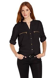 Calvin Klein Women's Modern Essential Zipper Button Front Blouse,Black,X-Large
