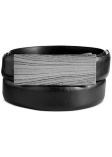 Calvin Klein Wood Grain Print Plaque Belt