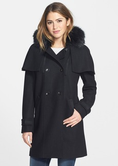 Calvin Klein Wool Blend Coat with Faux Fur Trim Hood