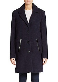 Calvin Klein Wool-Blend Three-Button Coat