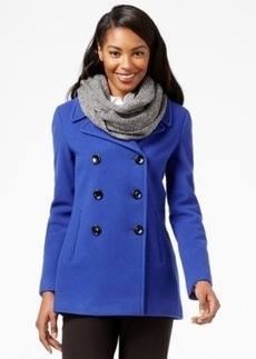 Calvin Klein Wool-Cashmere-Blend Peacoat with Free Infinity Scarf