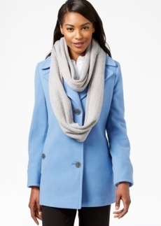 Calvin Klein Wool-Cashmere Blend Single-Breasted Peacoat with Free Infinity Scarf