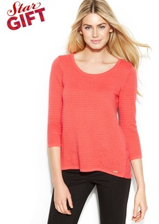 Calvin Klein Woven-Back Ribbed Knit Sweater