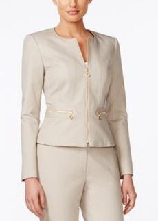 Calvin Klein Zip-Front Collarless Jacket
