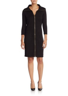 Calvin Klein Zip-Front Sweater Dress