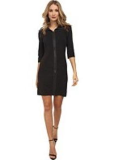 Calvin Klein Zip Front w/ Collar Sweater Dress