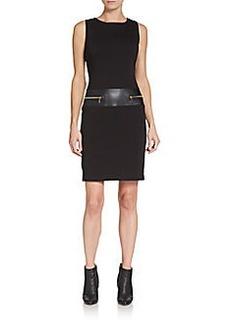 Calvin Klein Zip-Pocket Ponte Sheath Dress