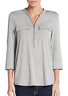 Calvin Klein Zip Roll-Sleeve Top