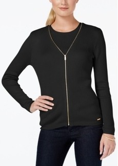 Calvin Klein Zippered V-Neck Cardigan Sweater