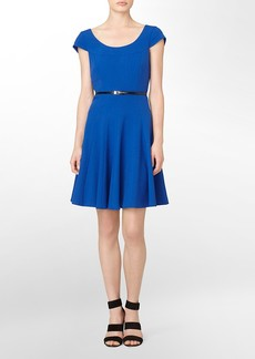 cap sleeve pleated belted fit + flare dress