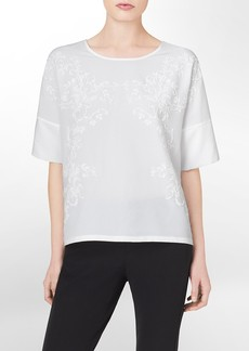 caviar embroidered square short sleeve top
