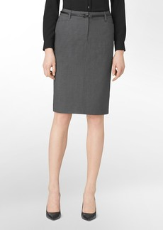 charcoal pinstripe pencil suit skirt
