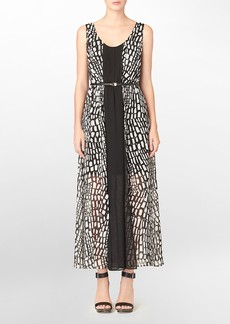 chiffon abstract print belted maxi sleeveless dress