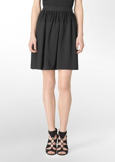 chiffon detail pleated skirt