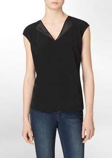 chiffon v-neck sleeveless top