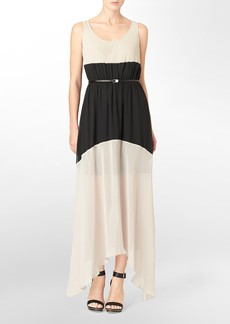colorblock belted sleeveless maxi dress