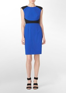 colorblock cap sleeve sheath dress